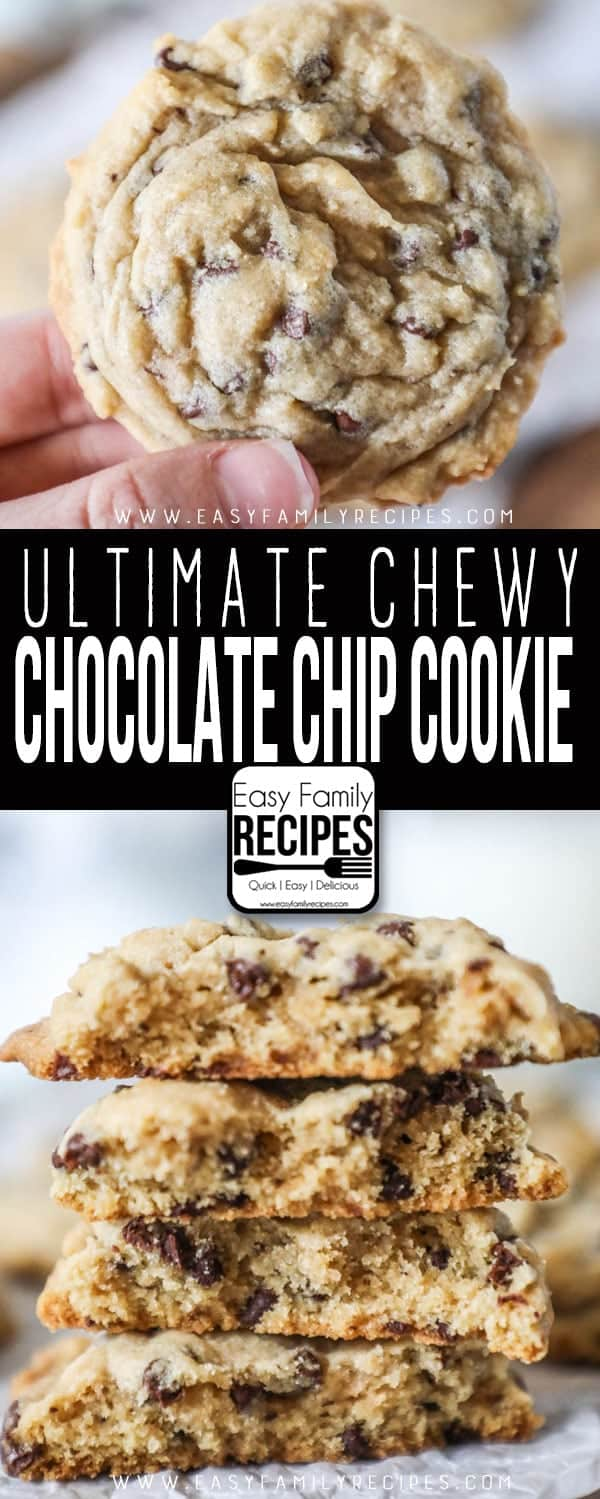 Chewy Chocolate Chip Cookies piled up