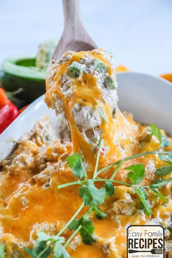 Spoon full of Chicken Fajita Party Dip