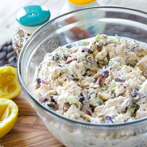 Cranberry Almond Chicken Salad in a bowl
