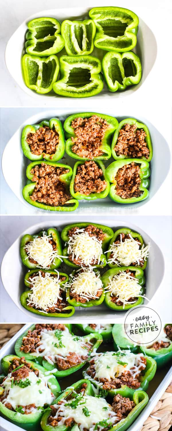 Process on how to make Lasagna Stuffed Peppers