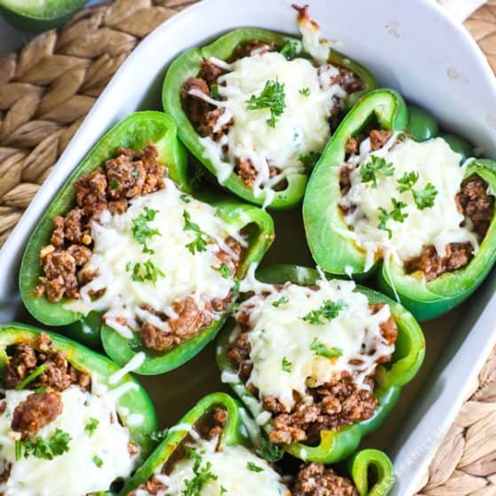 Lasagna Stuffed Peppers in Baking Dish