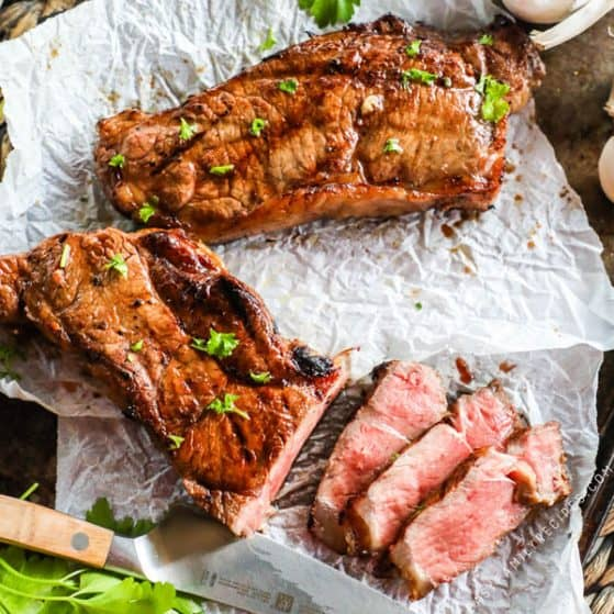 Tender and juicy steak cut into strips