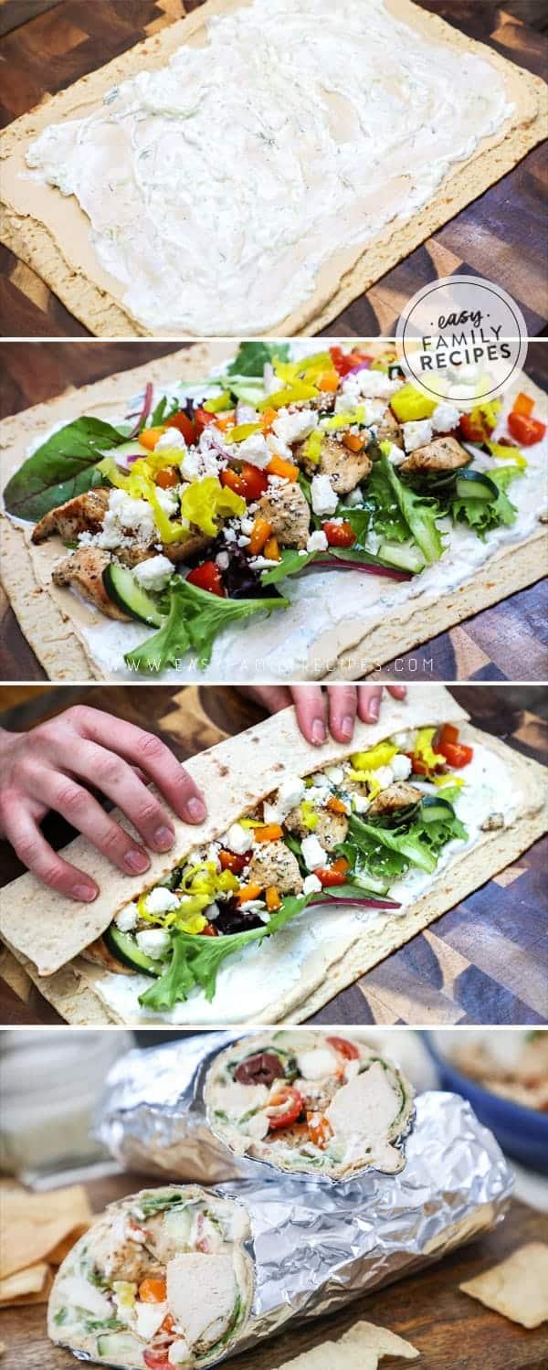 Steps to making loaded greek chicken wraps.