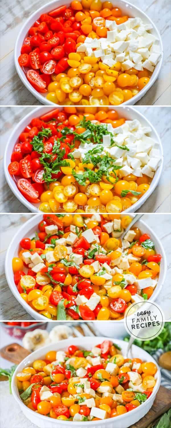 Steps to making tomato Basil Mozzarella Salad.