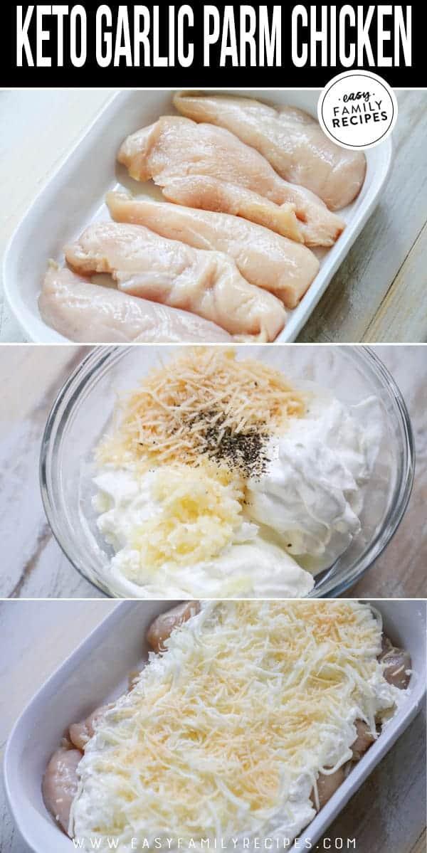 Steps to making low carb Keto garlic parmesan chicken.