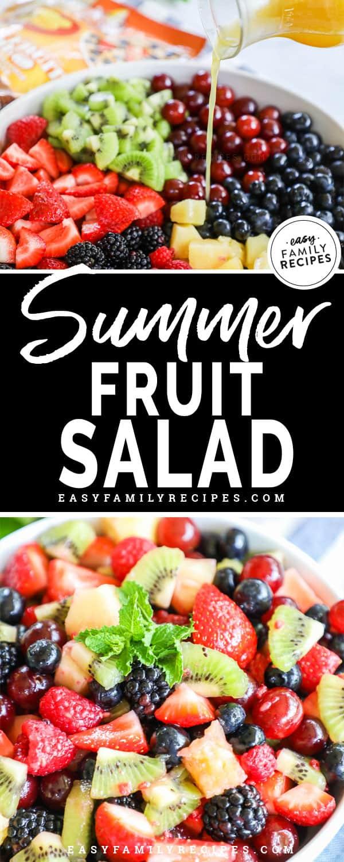 Fruit Salad Dressing being poured over fruit salad