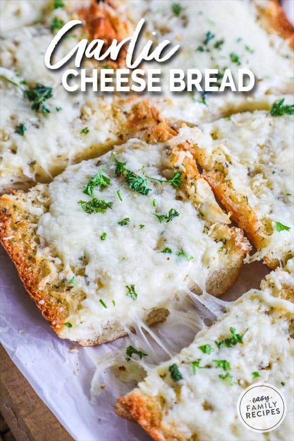 Easy cheesy garlic bread, full of flavor.