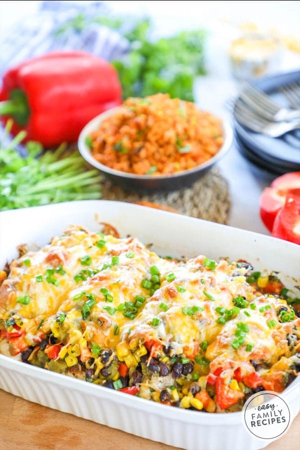 Quick and delicious one dish southwest baked chicken bake.
