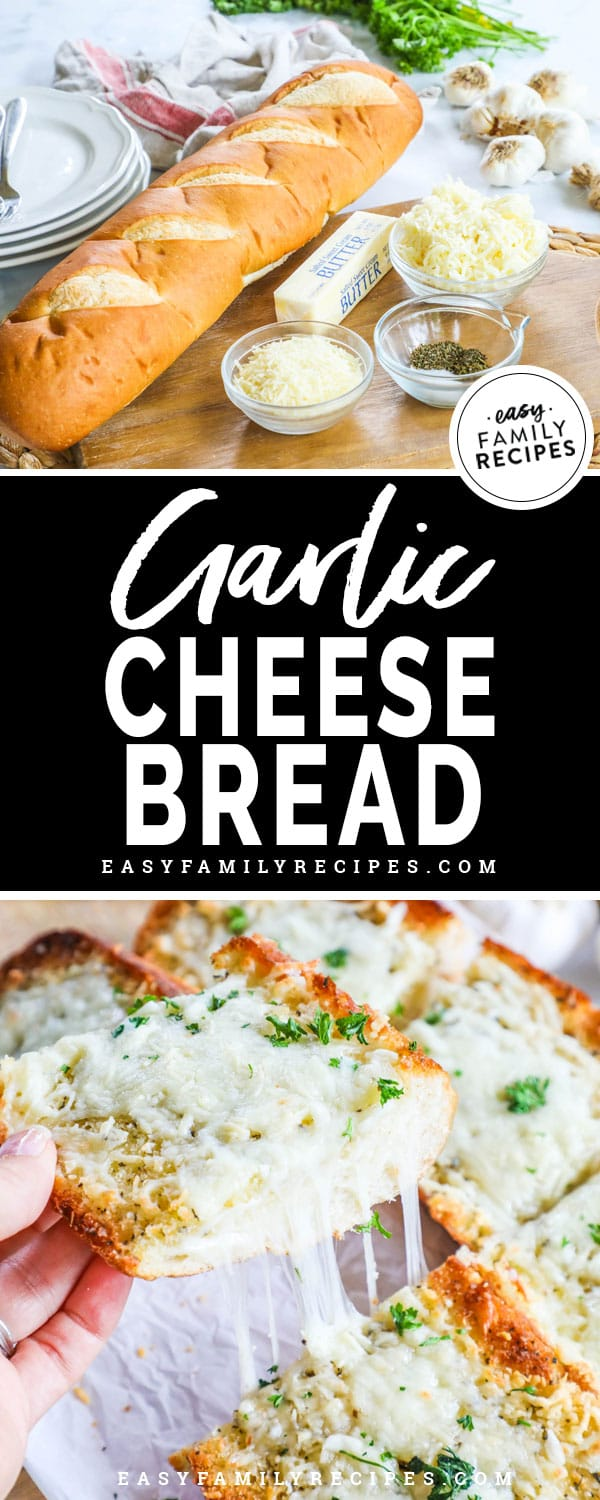 Delicious Cheesy Garlic Bread is a perfect side to your meal.