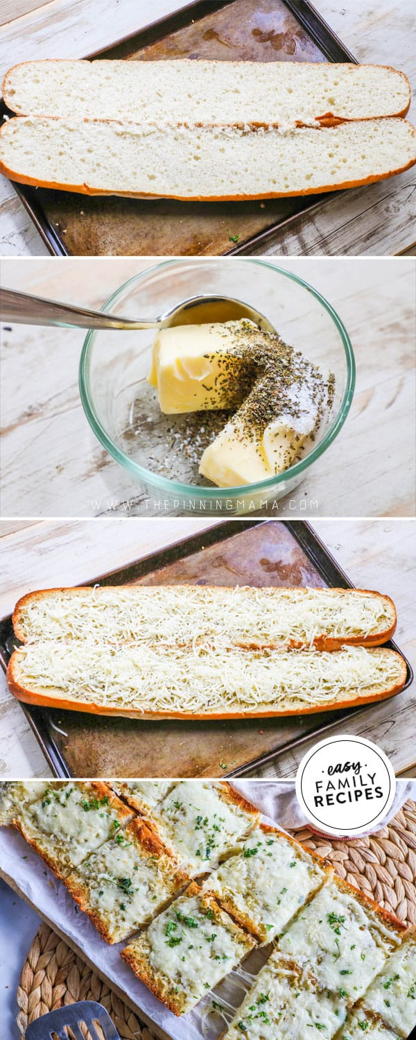 Steps for making garlic cheese bread.