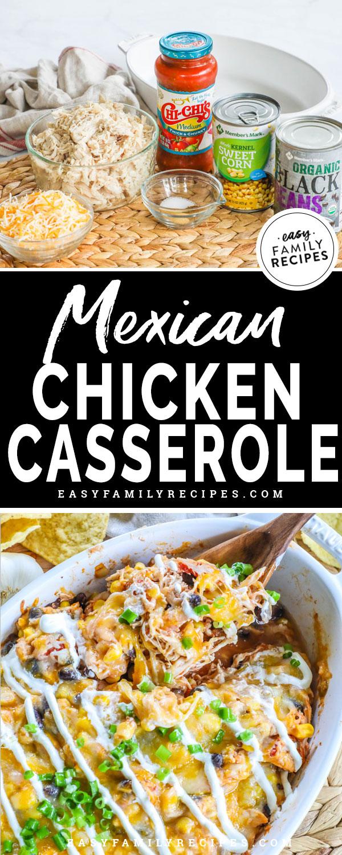 Mexican Chicken Casserole Ingredients- Salsa, Shredded Chicken, Corn, Black beans, spices, casserole dish