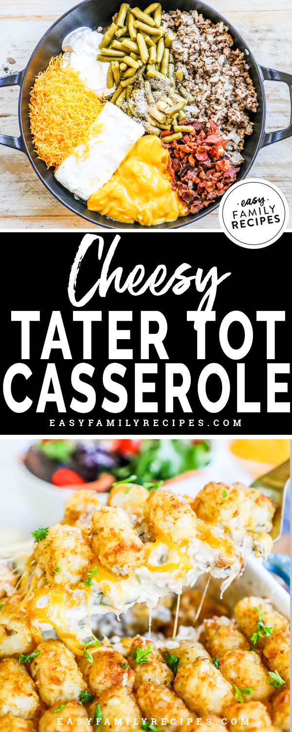 Cheesy Tater tot Casserole being prepared and served