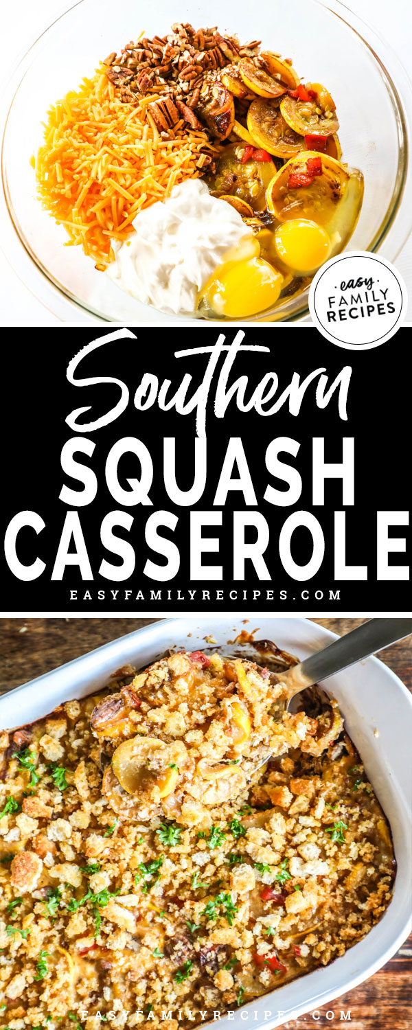 Southern Squash Casserole Ingredients including yellow squash, cheese, egg, pecans and mayonnaise