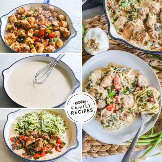 Step by Step Making Cajun Chicken Alfredo in SKillet