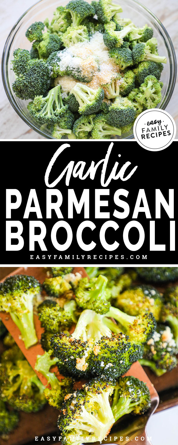 Ingredients for Roasted Garlic Parmesan Broccoli - broccoli florets, olive oil, parmesan cheese, garlic