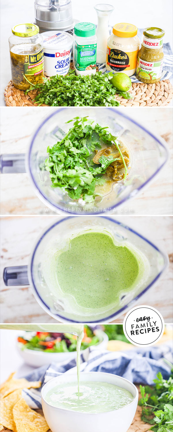 Process photos for how to make jalapeno ranch dressing in a blender