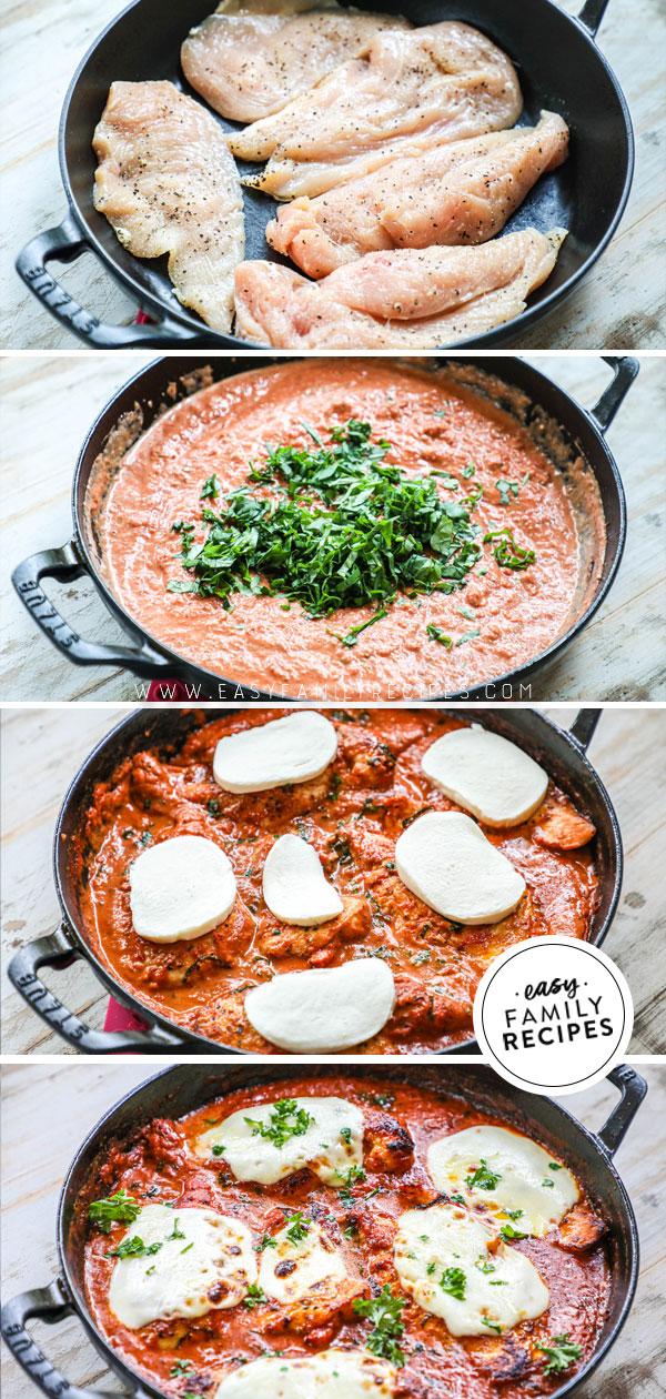 Process photos for how too make Mozzarella Chicken on the stovetop