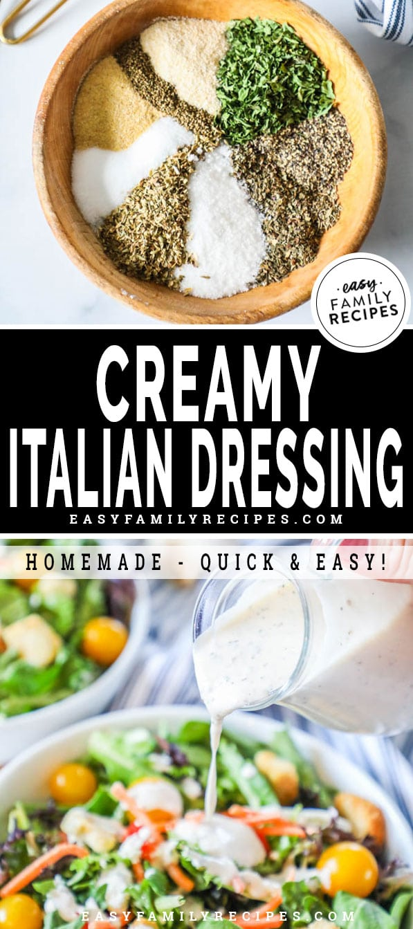 Ingredients for making creamy Italian Dressing in a bowl