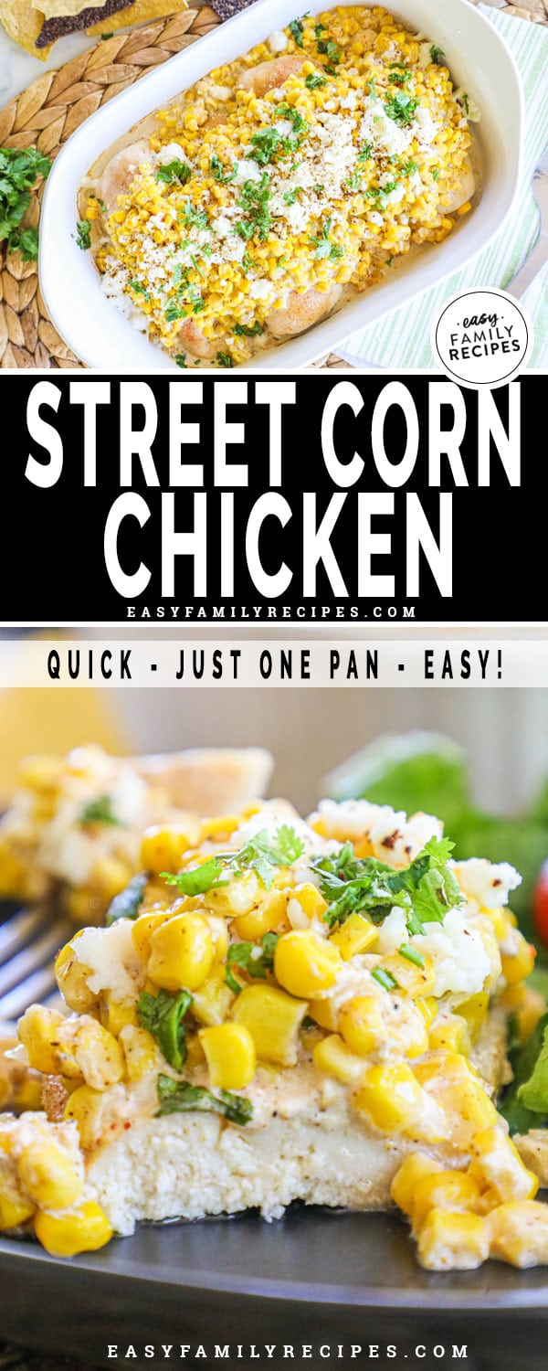Mexican Street Corn Chicken on a plate with a bite cut out.