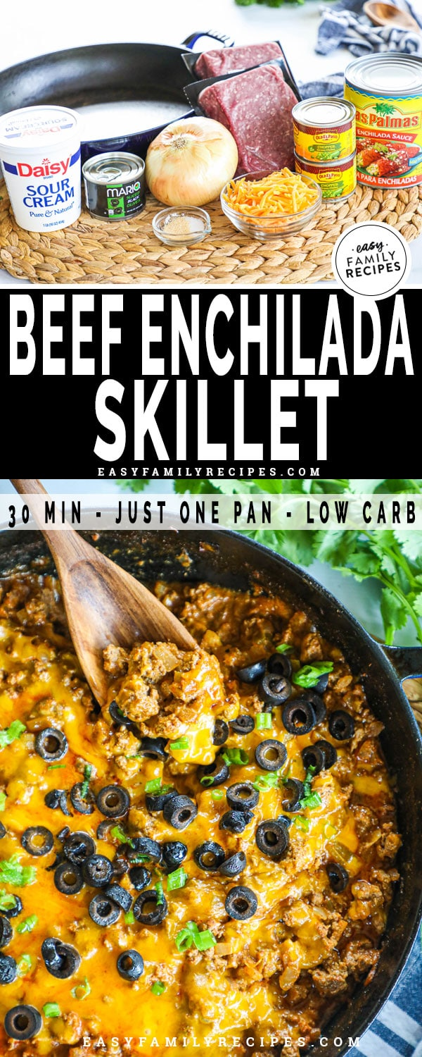 Beef enchilada skillet ingredients including ground beef, onion, enchilada sauce, sour cream and cheese