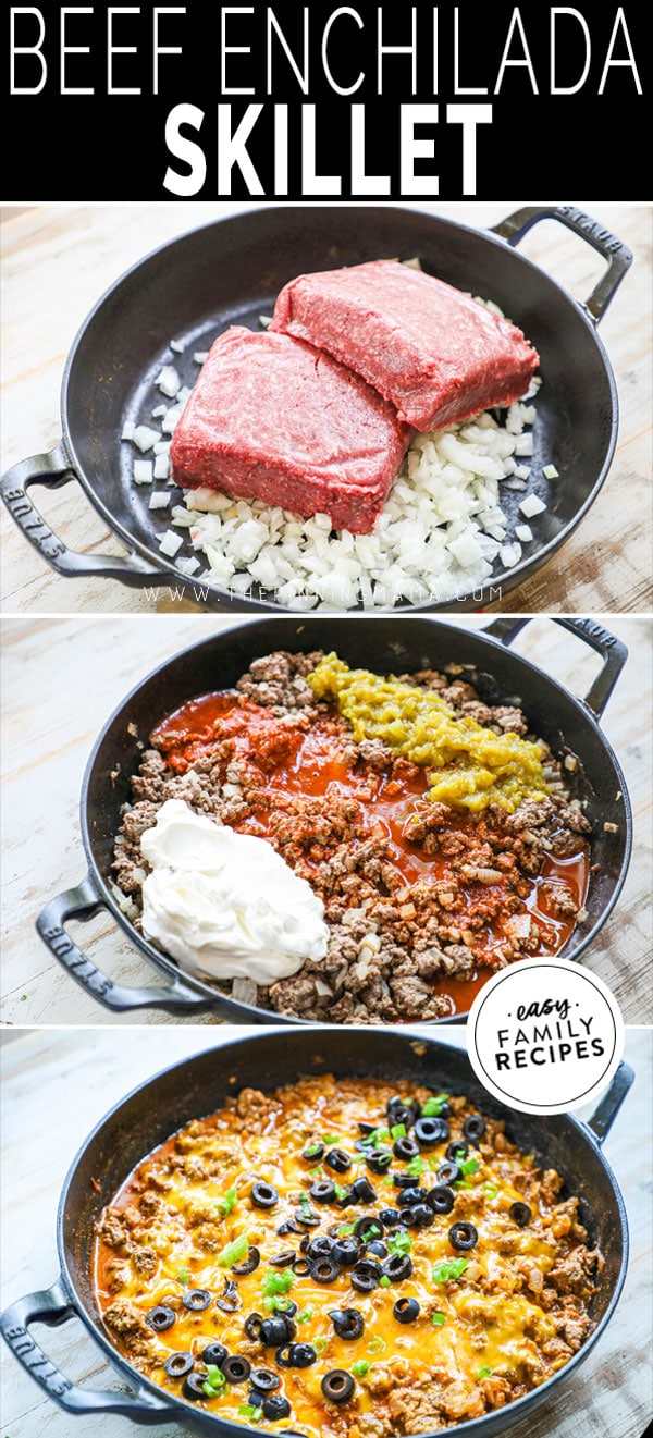 Process photos for how to make ground beef enchilada skillet