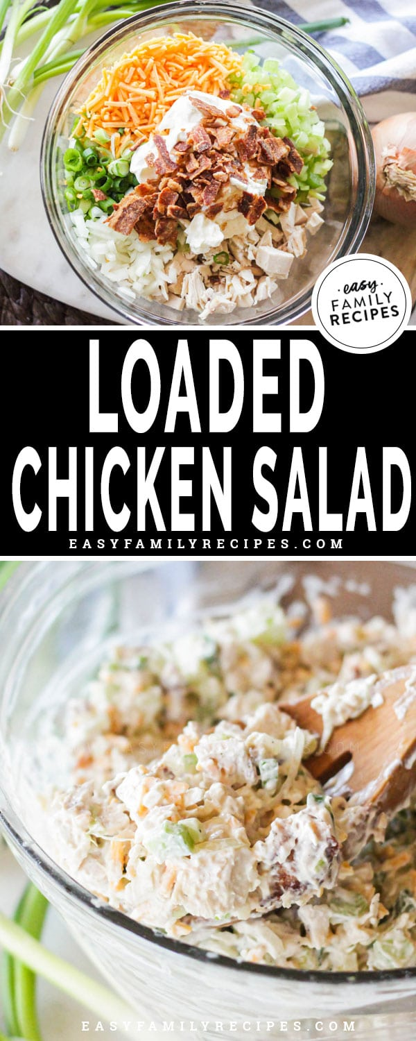 Loaded Chicken Salad in a bowl being scooped out to serve