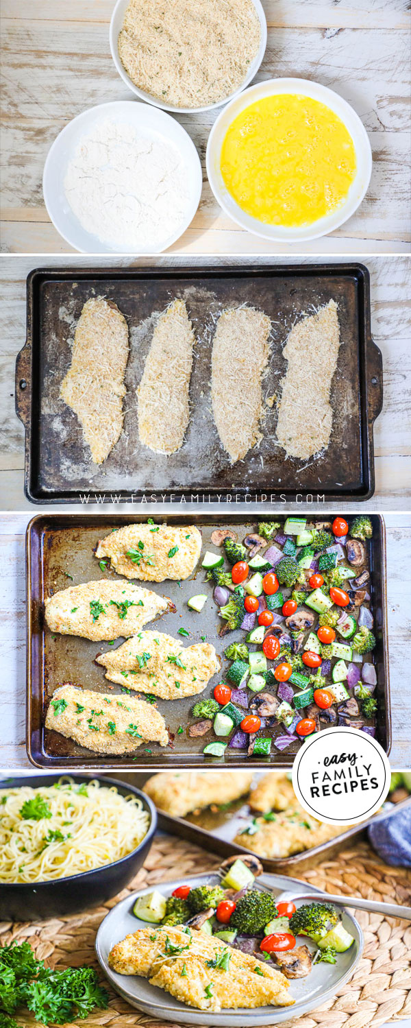 Process photos for how to make healthy baked chicken cutlets