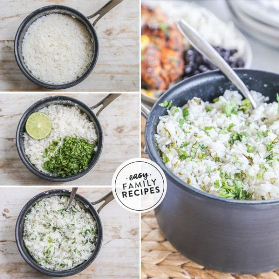 steps for making cilantro lime rice wi
