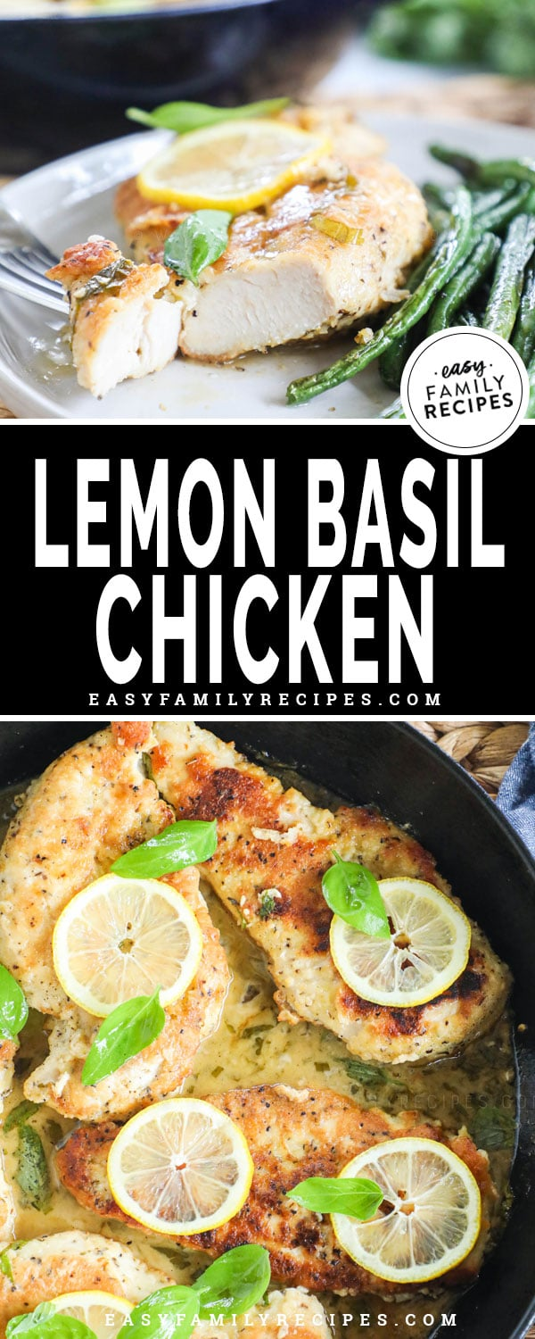 Lemon basil chicken with butter sauce served on a plate with green beans