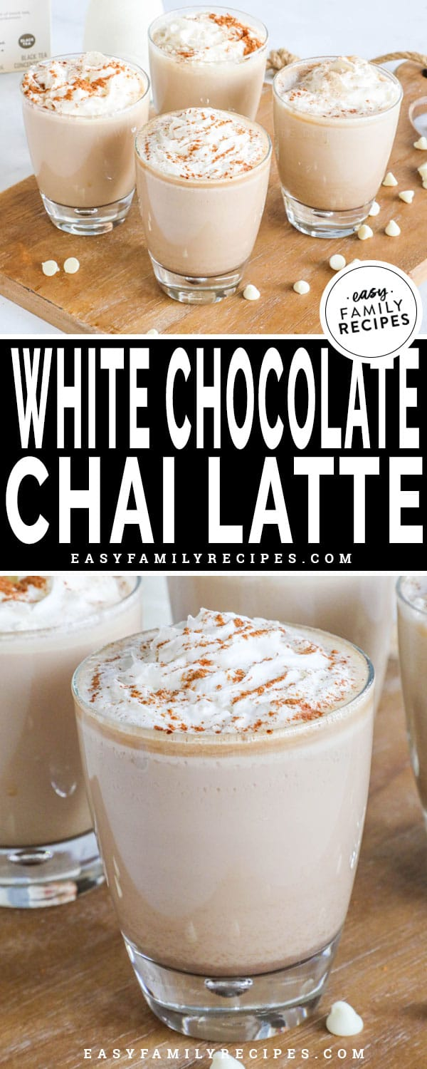 White Chocolate Chai Latte topped with whipped cream