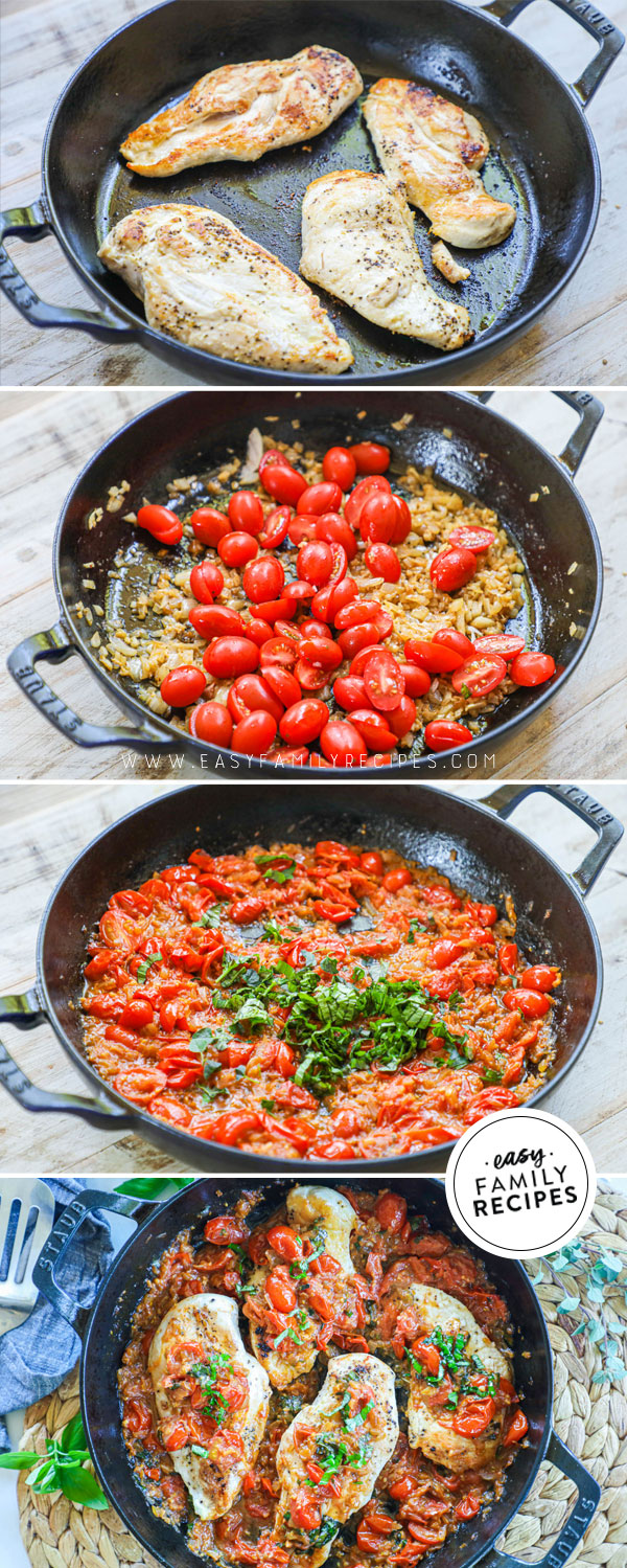 Process photos for how to make chicken pomodoro in a skillet