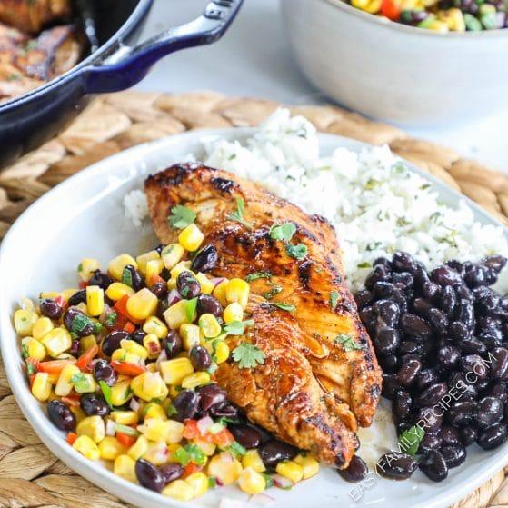 Skillet Chicken with corn salsa