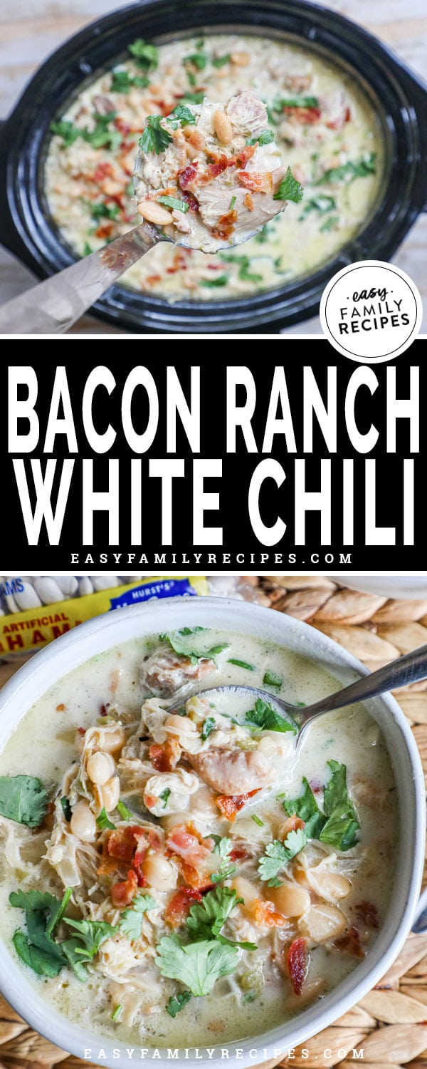 Lifting Bacon Ranch Chicken Chili from a crockpot into a bowl