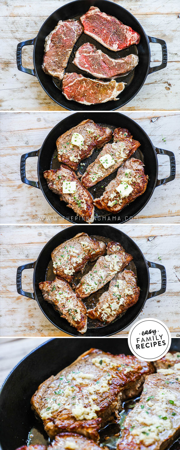 Process photos for How to make steak in a cast iron skillet
