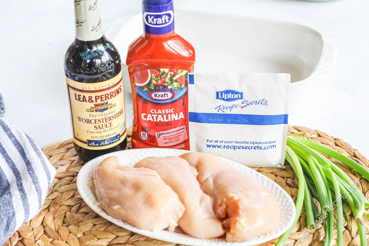 Ingredients for Baked Catalina Chicken including chicken breast, kraft catalina salad dressing, Worcestershire sauce, and lipton onion soup mix