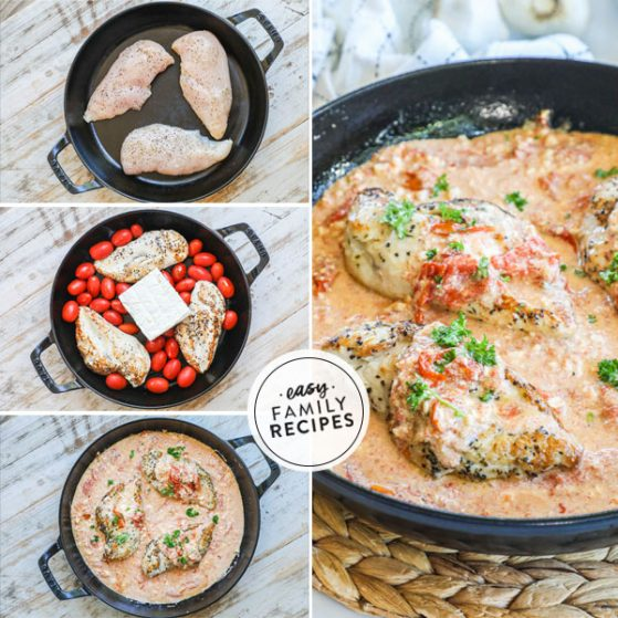 Step by step for making baked feta chicken: 1. Brown chicken breast in a skillet 2 Add tomatoes garlic and feta cheese, 3. Bake and mix together 4. Serve garnished with basil
