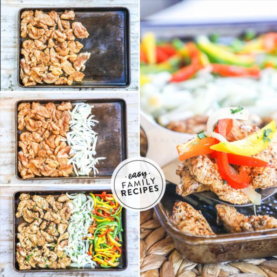 Step by step for how to make sheet pan chicken fajitas 1. Season meat and arrange on pan 2. Slice onions and add to pan 3. Slice red, green and yellow bell peppers and add to pan 4. Bake in oven until tender and cooked through