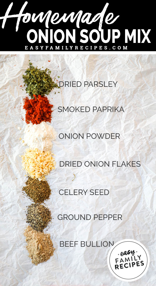 Ingredients and spices for making homemade onion soup mix