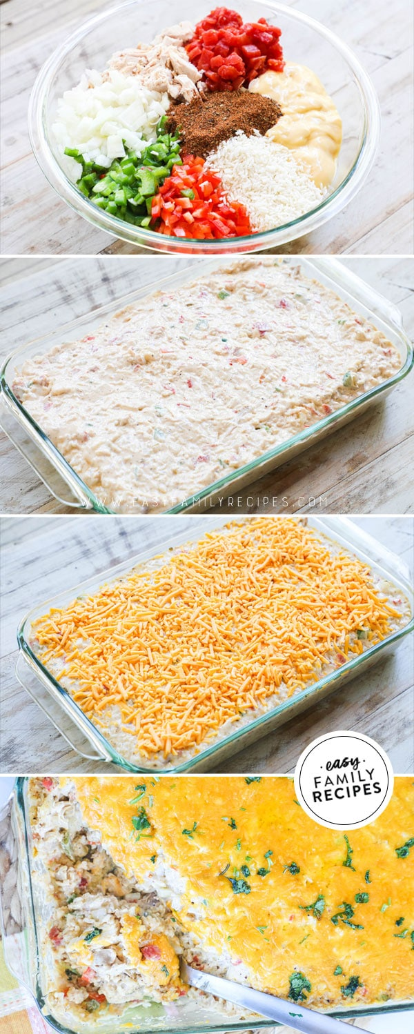 Process photos for how to make chicken fajita casserole - 1. Mix the ingredients together 2. Transfer to casserole dish 3. Cover with cheese and bake