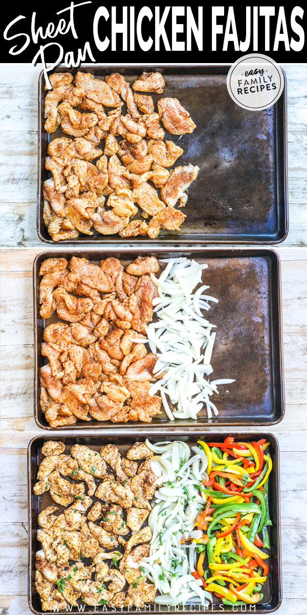 Process photo collage for How to make sheet pan chicken fajitas in the oven 1. Season meat and arrange on pan 2. Slice onions and add to pan 3. Slice red, green and yellow bell peppers and add to pan