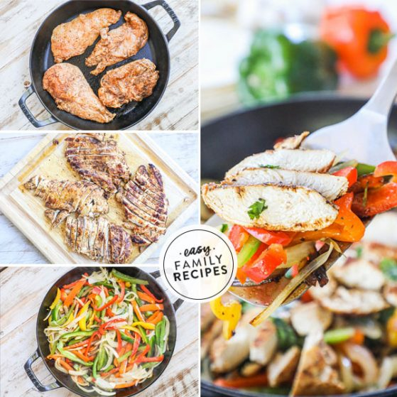 Step by step for making chicken fajitas in cast iron skillet. 1. Cook marinated chicken in cast iron skillet 2. Chop chicken 3. Cook onions and peppers 4. combine onions and peppers with cooked chicken