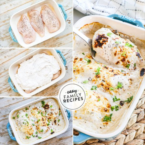 Step by step for making Baked Cream of Mushroom Chicken - 1. Season chicken and place in casserole dish 2. Mix cream of mushroom soup with sour cream and seasonings and smother chicken breasts. 3. Cover with parmesan and bake