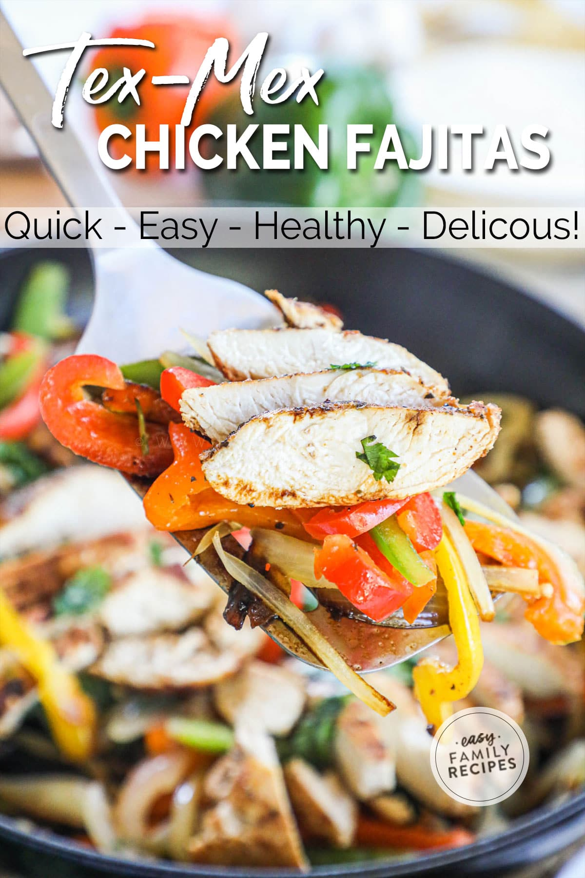 Sliced chicken breast fajitas with onions and bell peppers