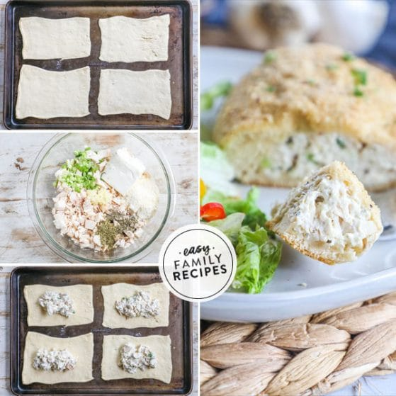 Step by step for making Baked Chicken Pillows 1. Unroll Pillsbury crescent rolls 2. Mix cream cheese chickengarlic herbs and onion together. 3. Spoon onto crescent rolls 4. Roll into a ball and then coat with bread crumb mixture.