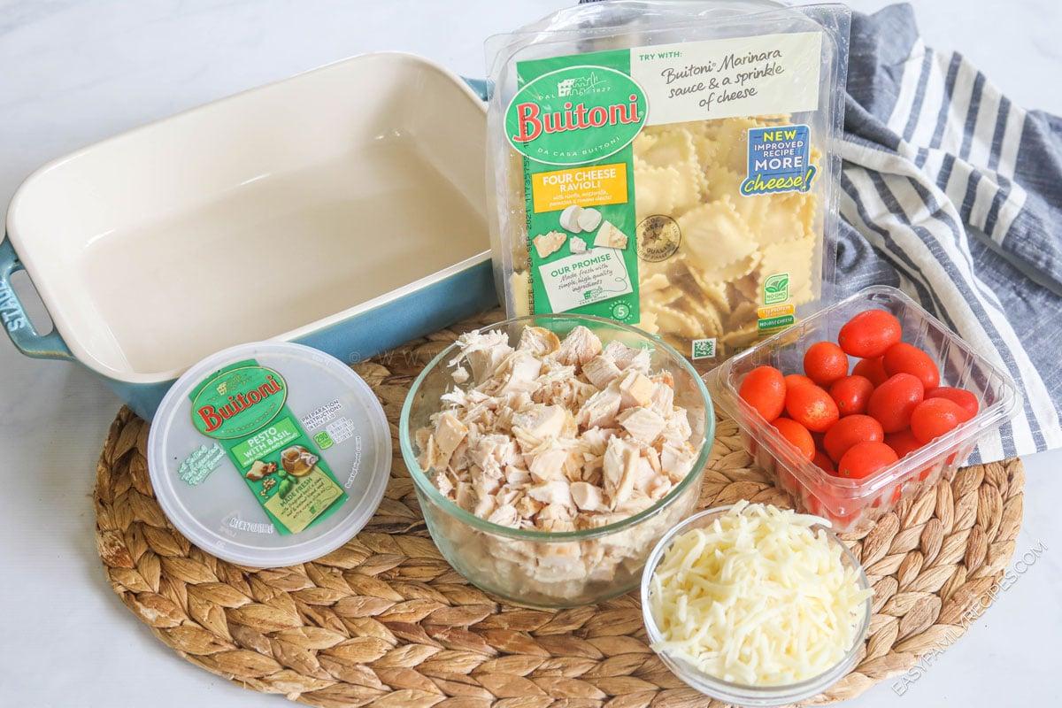 Ingredients for caprese chicken ravioli bake