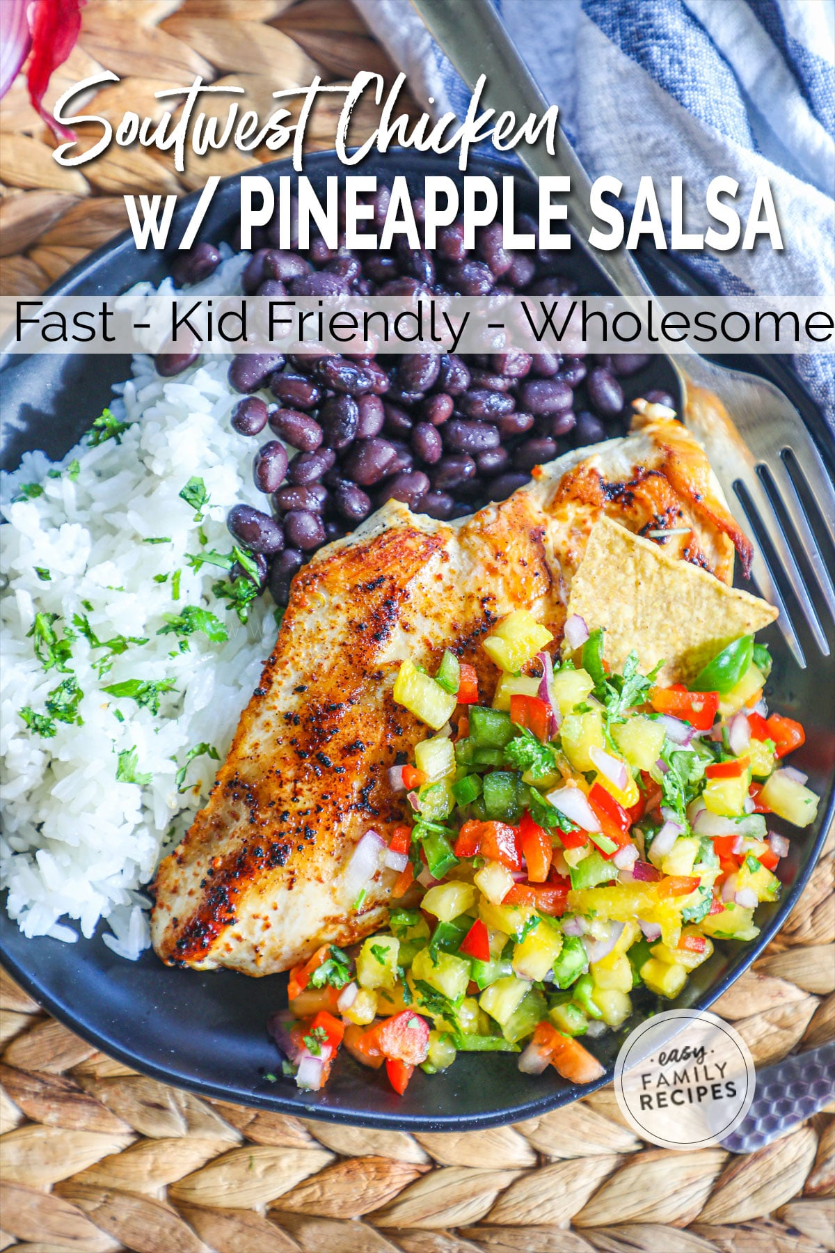 Seasoned Chicken breast with pineapple salsa served with rice and beans