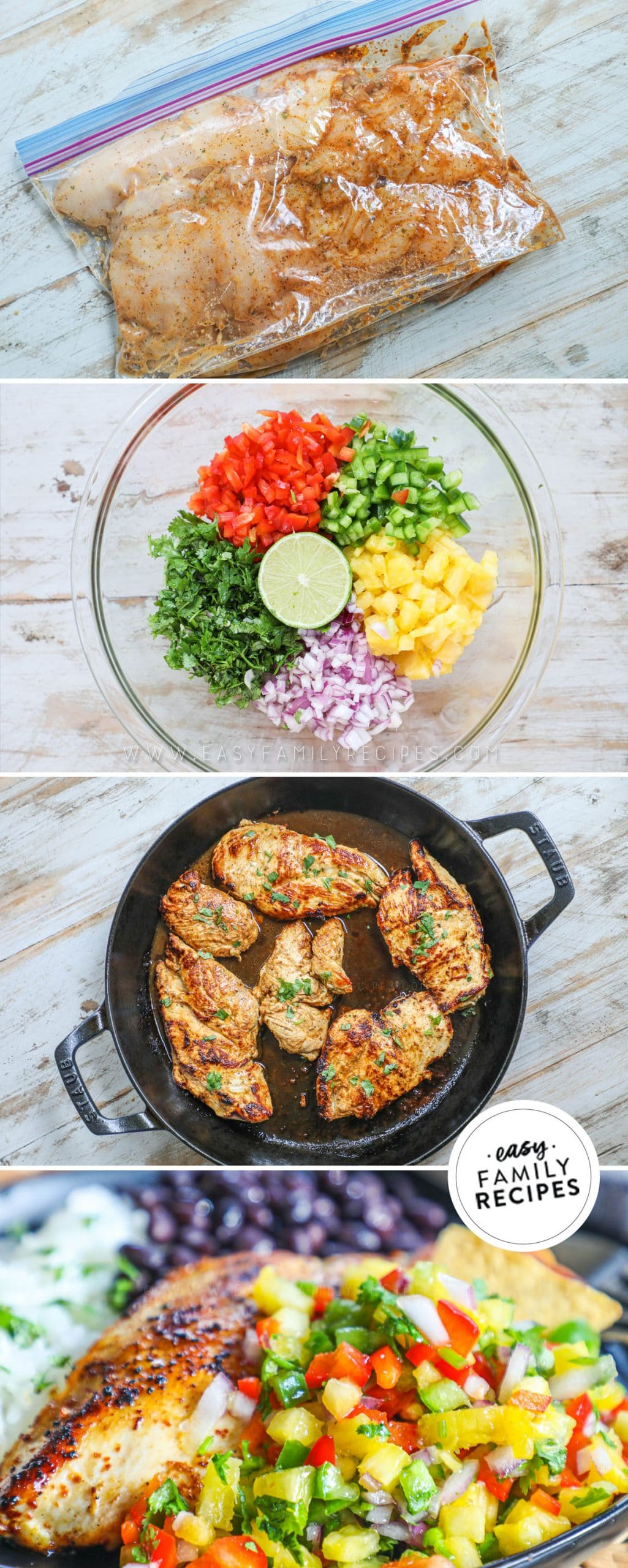 Process photos for How to make pineapple salsa chicken- 1. Marinate the chicken breast. 2. Make pineapple salsa. 3. Cook chicken breast in skillet. 4. Serve chicken with a scoop of pineapple salsa on top.