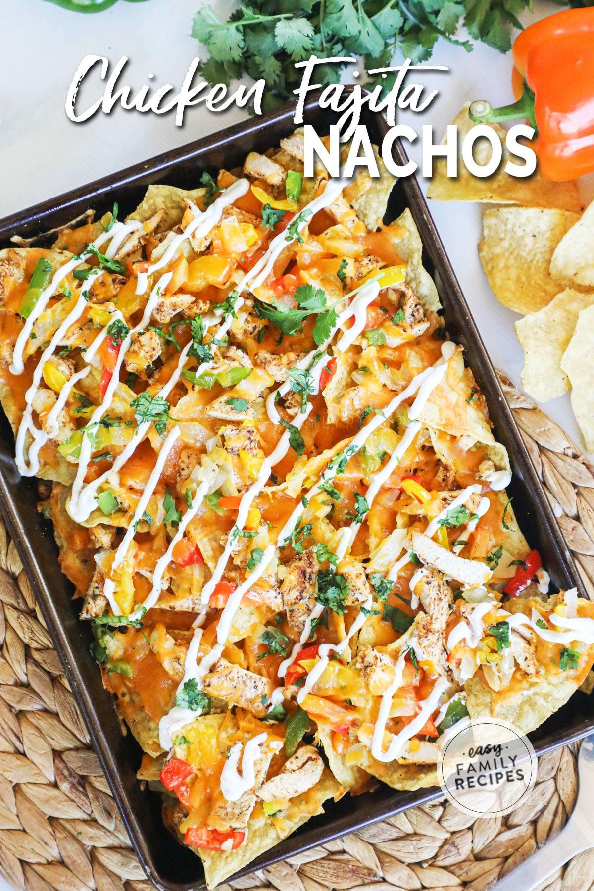 Overhead view of sheet pan baked chicken fajita nachos