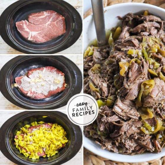 Step by step for making Mississippi Pot Roast in the Crock Pot 1. Place chuck roast in slow cooker. 2. Add ranch seasoning and au jus gravy. 3. Top roast with pepperoncini peppers. 4. Shred roast and mix into juices.
