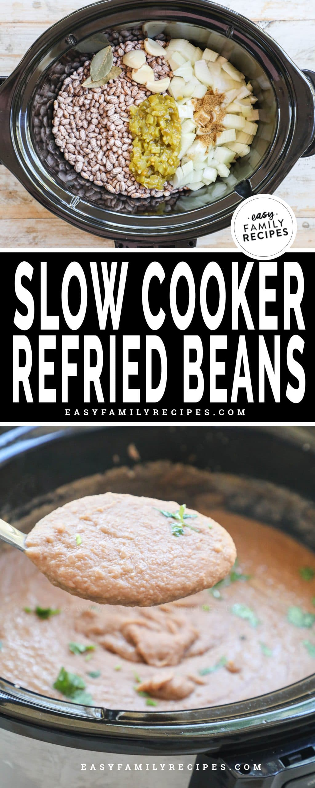 Slow cooker refried beans shown in crock pot before cooking and bottom in crockpot after cooking